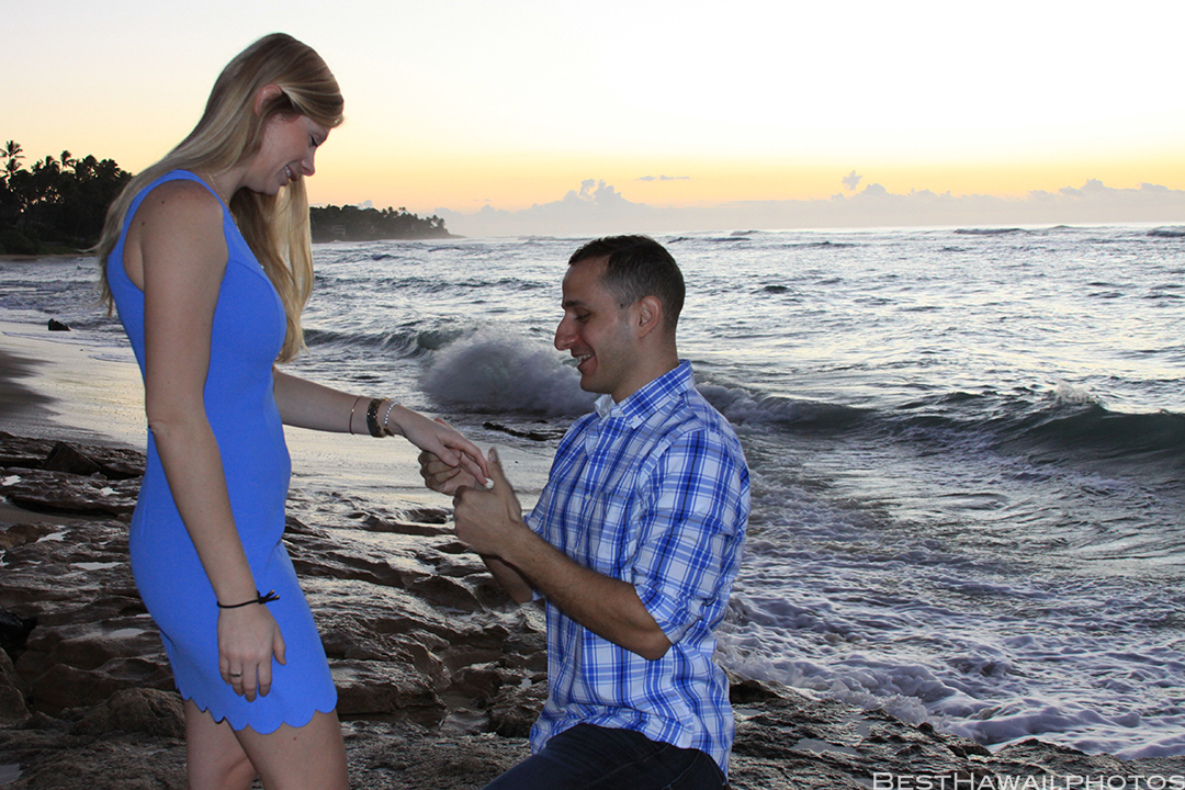 Diamond Head Beach Sunrise Engagement